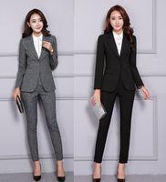 формальные блейзеры для работы оптовых-2 Piece Blazer Pants Set Women Office Lady Pant Suits Business Work Wear Jacket Trousers Elegant Winter Formal Clothing 2019