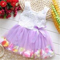 vestidos de casamento de verão bebê menina venda por atacado-Bebê Girls Dress 2020 Floral Verão Flor mangas meninas vestidos de malha Tulle TUTU Praia Saias Crianças Princesa Wedding Dress 7 Cor B362
