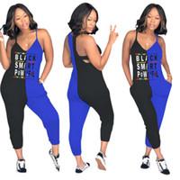 monos de mamelucos del club al por mayor-Mujeres sin mangas carta delgada mono v-cuello bolsillo balck smart Pants Club Sexy patchwork Playsuit Party Ladies Rompers Outfit LJJA2290