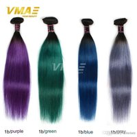 Wholesale ombre purple hair weave straight resale online - Brazilian Virgin Hair Straight Blue Weave Bundles purple Ombre Brazilian Hair tone Color Brazilian Straight gray Hair Bundles