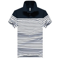 Wholesale polo white stripe resale online – Mens Polo Shirt Turn Down Lapel Stripe Short Sleeve Cotton Polo Shirt Large Size with Colors