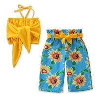 gelbe kinderkleidung großhandel-Kinderausstattungskleidungsmädchen 2019 arbeiten die Butikenkleidungsbabybowknot-Schlauchoberseiten gelb + Sonnenblumenblumenhosen zwei Stücksätze um