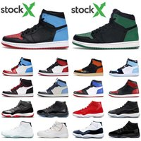 Wholesale black patent leather basketball shoes resale online - Men basketball shoes s high OG UNC to Chicago Pine Green Travis Scotts bred s concord space jam jumpman women sports sneaker