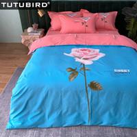 Wholesale duvet for girls princess resale online - 100 Cotton bedding set blue rose bed sheet linen for girl princess duvet covers pastoral duvet bedclothes pillowcase
