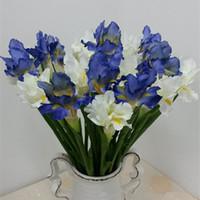 Wholesale iris flowers resale online - 6Pcs Artificial Irish Iris flower fleurs artificielles for wedding table accessory home decoration fake Irish flowers
