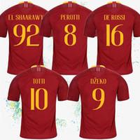 camisa de futebol vermelho venda por atacado-Tailândia Roma Jerseys 10 TOTTI casa de futebol vermelho Jersey 16 DE ROSSI customizável 9 DZEKO 92 EL SHAARAWY terno de futebol
