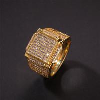 gemas superiores al por mayor-Blanco Hiphip oro amarillo de 18 anillos plateados oro y diamantes para hombre de calidad superior Fashaion Hip Hop Accesorios CZ Gemas Anillo mayorista