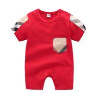 ingrosso i pigiami del bambino coprono i pigiami-Estate Newborn Baby Boy Cartoon Pagliaccetti manica corta tuta pagliaccetto del bambino neonato appena nato 0-24 m 100% vestiti di cotone set pigiama abiti