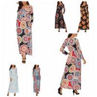 uzun maxi elbise parti çiçekleri toptan satış-Çiçek Çiçek Elbiseler Kadınlar Maxi Bohemya Parti Uzun Kollu Elbise Tatil Casual Elbise Baskı Vintage Elbise LJJA3399-11 Cepler