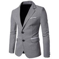 erkek uzun elbiseler toptan satış-Rahat Ekose Baskı Erkekler Blazer Moda Uzun Kollu Gelinlik Ceket Sonbahar Beyaz Sosyal İş Erkek Blazer Ceket