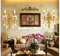 aplique al por mayor-Modern Luxury Luxury Light Light Brass Apliques de pared de color Nueva Jade Soportes de pared Luz para el dormitorio sala de estar Lámpara de pared