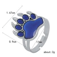 Wholesale bear rings for sale - Group buy fashion creativity mood ring bear paw mood ring opening adjustment