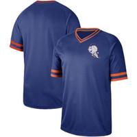 gömlek boş toptan satış-2019 Yeni Stil Vintage Darryl Çilek Gömlek Kazak Çilek Çilek MAVI Beyzbol Forması Met Boş V Yaka Jersey Üniforma Mne Boyutu S-3XL