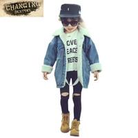 chicos otoño invierno jeans al por mayor-Otoño Invierno Abrigo Chicos Corderos Lana Denim Chaqueta Niños Boy Girl Plus Cashmere Jeans Chaquetas Abrigos Niños Use Abrigo Medio