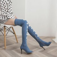 Wholesale blue fashion fish hooks resale online - Ebullient2019 Cowboy Time Street Cloth Baby Blue Holes Woman Fine With Fish Mouth Rome Cool Overknee High Boots