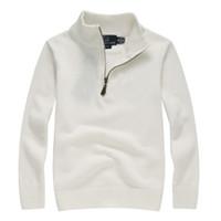 diseños de manga larga polo al por mayor-Hombres de lujo de punto Polo camisa de marca suéter para hombre Polos diseño de la cremallera bordado de manga larga para el otoño Wint