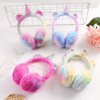 kızlar külahı kulaklıklar toptan satış-Kış Sevimli Bebek Popüler Earmuffs Klasik Unicorn Earcap Peluş Sıcak Kulak Isıtıcı Kız Narin Kademeli Değişen Renk 16 5yj Ww
