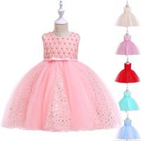vestir a los niños brillar al por mayor-Shining Stars Vestido de niña de flores Princesa Fiesta de bodas Cumpleaños Fiesta Vestido de bola Niños Ropa para niños