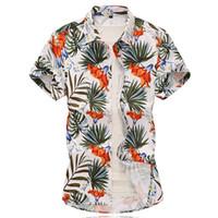 pantalones cortos de algodón hawaiano al por mayor-Camisa hawaiana de playa para hombre Camisa de manga corta de verano tropical Hombre Casual Algodón suelto con botones, más el tamaño