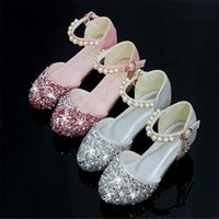 topuk ayakkabıları kız çocukları toptan satış-Çocuk kız Kristal boncuklar Ayakkabı Kızlar dans Ayakkabı topuklu Parti Prenses boyutu 26-38 şerit pembe TX03