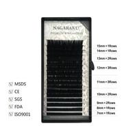 kirpik tepsileri toptan satış-NAGARAKU 7 ~ 15mm MIX 16 satır / tepsi vizon kirpik uzatma doğal kirpikler bireysel kirpikler yanlış kirpik