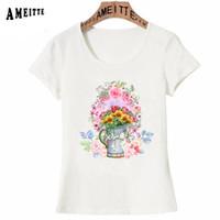 простая белая ваза оптовых-Cute Watercolor flowers vase Print T-Shirt Summer Fashion Women Short Sleeve Simple O-neck Casual Tees Ameitte Cute White Tops