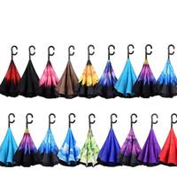 реклама стенда оптовых-Реверсивный складной зонт C Крюк ветрозащитный двухслойный перевернутый Self Stand Зонтики наизнанку C Зонт от солнца Рекламный зонт