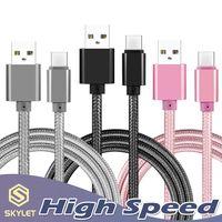 chargeurs usb achat en gros de-Câble USB haut débit Type C TO C Adaptateur de charge Data Sync Adaptateur de charge de téléphone en métal 0.48mm Épaisseur Fort tressé USB C Chargeur