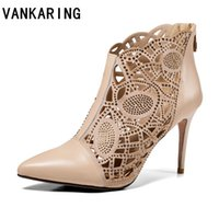 Wholesale black ankle boots thick heel resale online - VANKARING new sexy thick high heels pointed toe shoes woman ankle boots genuine leather women black apricot party riding boots