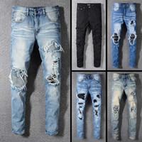 trajes quentes dos homens venda por atacado-2019 New famosa marca designer de roupas longo rasgado casual mens jeans top quality moda biker jeans de luxo para homens venda quente
