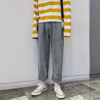 herren beiläufige baggy jeans großhandel-Fashion-2019 Männer Baggy Homme beiläufige Hosen der Männer blaue Farbe Jeans Männer gerade Hosen lose Hochwertige Hose plus Größe M-2XL