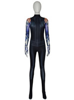Wholesale zentai hero cosplay online - 2019 New Battle Angel Alita Suit D Printed Alita Cosplay Costume Spandex Halloween Zentai Bodysuit For Girls Female ladys