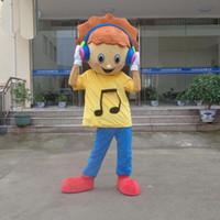 traje de mascote para a música venda por atacado-Linda music boy Andando Cartoon Mascot Costume Halloween Party Adulto Tamanho A +