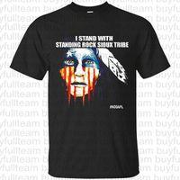 boyun modası toptan satış-Standing Rock Sioux Kabilesi Nodapl Erkek Siyah kısa kollu Standı Moda Yuvarlak Yaka T Shirt Boyut XL S L 2XL 3XL Tops