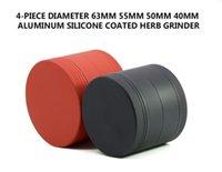 exportaciones de caucho al por mayor-Punto de diámetro 63 MM aleación de aluminio de cuatro capas de pintura de goma molinillo de cigarrillos exportación conjunto de cigarrillos 99904-63
