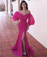 chiffon festzug kleider für frauen großhandel-Puffy langen Ärmeln Sexy Plus Size Rosa Abendkleider für Frauen 2019 V-Ansatz Satin-Seiten-Schlitz Sweep Zug Festzug Mermaid Robe De Soiree