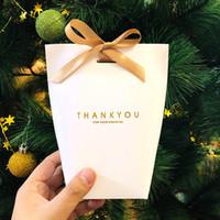 caja para dulces hechos a mano al por mayor-¡Gracias Papel de regalo del regalo del banquete de la boda bolsa Birthiday favores bolsos hechos a mano de artículos Bolsa de caramelo corbata de joyería de embalaje plegable Caja HH9-2523