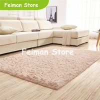 Wholesale high quality coffee tables for sale - Group buy High quality Factory direct silk solid color carpet Living room coffee table mat bedroom bedside blanket Rectangular carpet