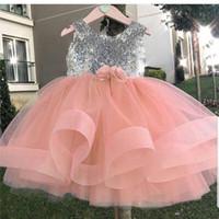 vestido de novia vestido de novia de plata al por mayor-Baratas de plata de lentejuelas Tutu Vestidos Floristas 2020 de bola del vestido de tul Niña Vestidos de boda del desfile de la vendimia Vestidos de comunión