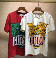 büyük boy gömlek stili toptan satış-Kadınlar için moda Tasarımcısı lüks Marka T-shirt 2019 ilkbahar Yaz Boy styling tiger baskı ekip boyun mektubu baskı tshirt kadınlar Tee Cas