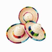 mexikanische partyhüte groihandel-6pcs Natur Baby-Stroh Mexican Hat Mini Sombrero-Babyparty-Geburtstags-Party-Dekoration Tischpartyangebot