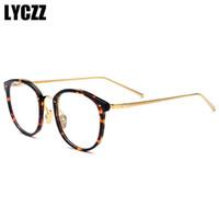 ingrosso occhiali rotondi coreani-LYCZZ Unisex Round Vintage Montature per occhiali stile acetato Maschio Femmina versione coreana Full Circle Miopia Montature per occhiali