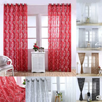 ingrosso drappi floreali neri-Sheer Curtains Floral Room Porta Sheer Voile Finestra Valances Panel Drape Curtain Tulle Sciarpe Window Screens Leaf Bubble Cut Flower Screen