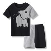 b1938fb78eb65 2019 été bébé garçon vêtements costumes patchwork éléphant noir enfants  pyjamas coton t-shirts pantalon court pyjamas gris vêtements de nuit
