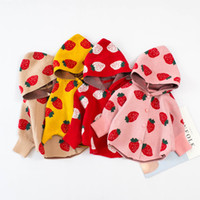 Wholesale kids strawberry clothes for sale - Group buy Baby Sweater Outwear Outfits Kids Bat Sleeve Strawberry Printed Hooded Poncho Coat Children Knitting Cape Wrap Cute Kids Clothing M441