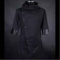 асимметричная мужская одежда оптовых-Мужчины личность асимметричный дизайн черные рубашки ночной клуб сценический костюм мужские японский стиль blusas slim fit одежда уличная