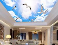 Wholesale vintage textiles resale online - WDBH d wallpaper custom photo Sunshine blue sky white clouds seagull ceiling mural room Home decor d wall murals wallpaper for walls d