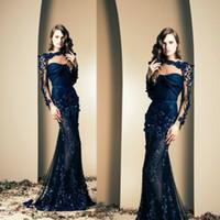 illusion bateau abendkleider groihandel-Ziad Nakad 2020 Sexy Promi-Kleid-Nixe Durchsichtig mit langen Ärmeln Applikationen Abendkleider Trompete-Abschlussball-Kleid-Partei-Marine-Wear