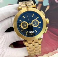Wholesale luxury high end watch resale online - Men s Watch New Brand High end Dress Designer Fashion Black Dial Calendar Gold Bracelet Folding Clasp Master Male Gift Couple