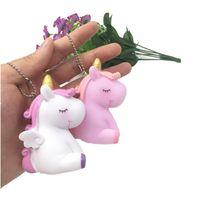 Wholesale soft vents resale online - Novelty Soft Rubber Unicorn Model Handbag Pendant Decompression Vent Toys Make Sounds Nicknack Charms Keychain